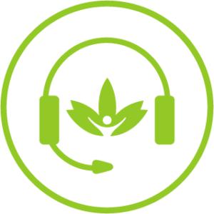CBD Star logo mit headset für Kundenservice