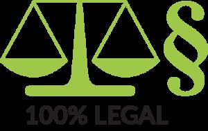 100% Legal mit Produktmerkmal Icon Gerechtigkeitswaage