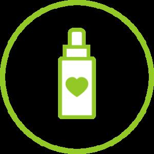 Herz auf CBD Flasche als Zeichen für CBD Star Qualitätsleitungen