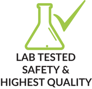 Lab Tested for Safety & Highest Quality mit Produktmerkmal Icon Reagenzglas