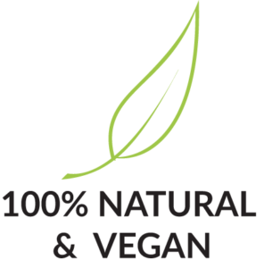 100% Natural & Vegan mit Produktmerkmal Icon Blatt
