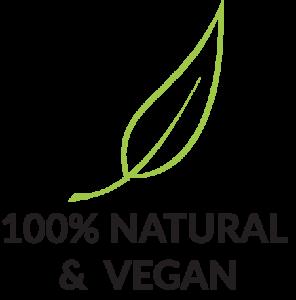100% Natural & Vegan mit Produktmerkmal Icon Blatt